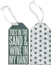 Toes In The Sand Bottle Tags - Beach Bungalow Life   Wine Tags   Bottle Tags