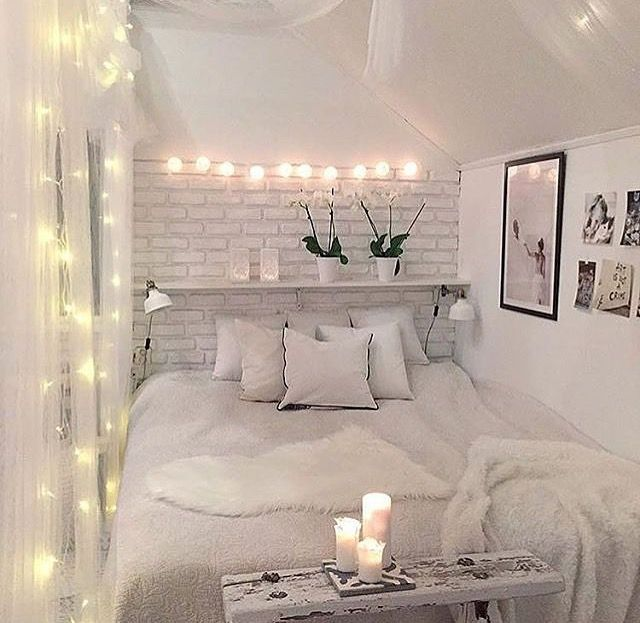 White Faux Brick For Sunroom Wall White Bedroom Decor Small Bedroom Decor Romantic Bedroom Lighting