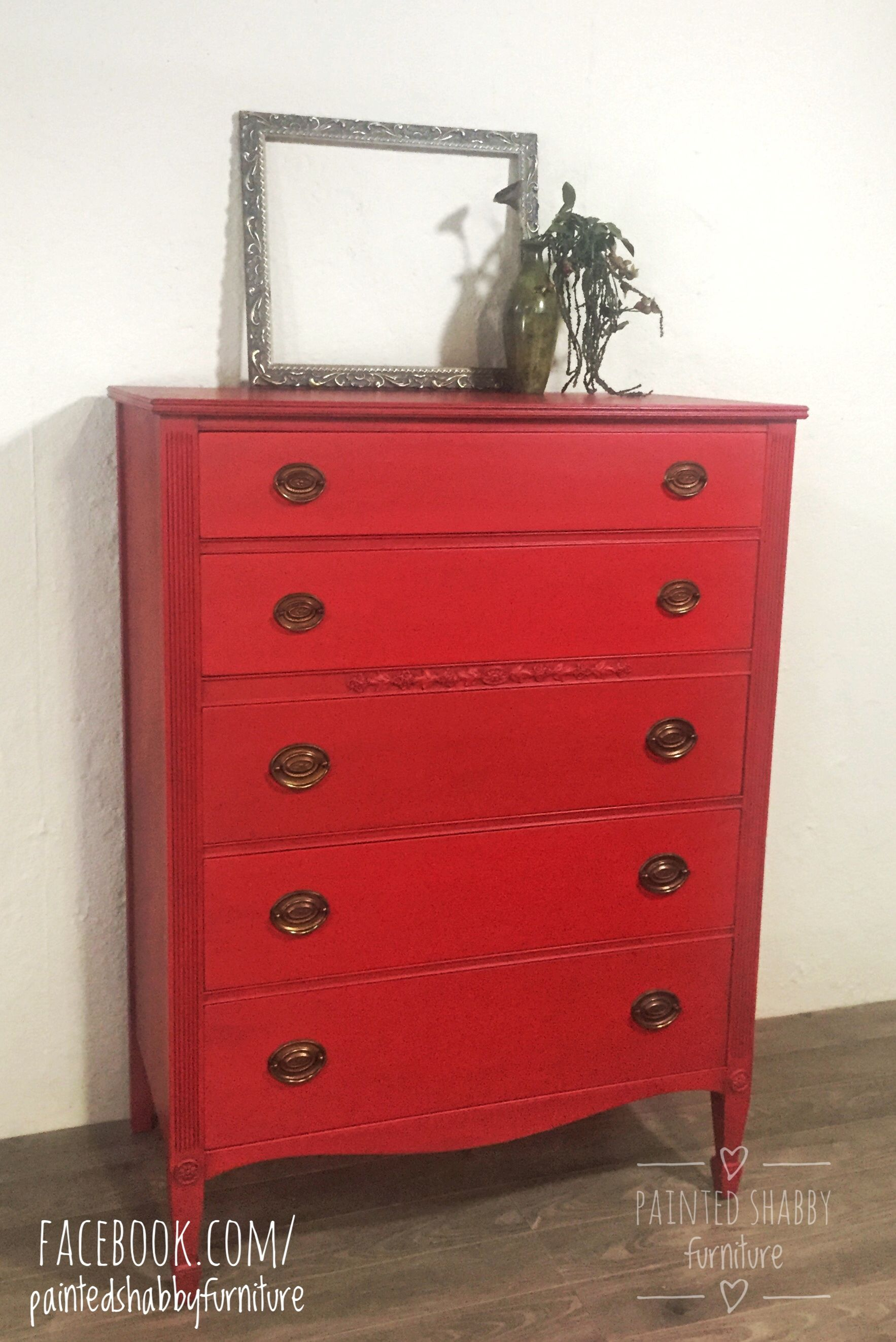 painted red furniture. Vintage Painted Red Dresser With Dark Wax Furniture A
