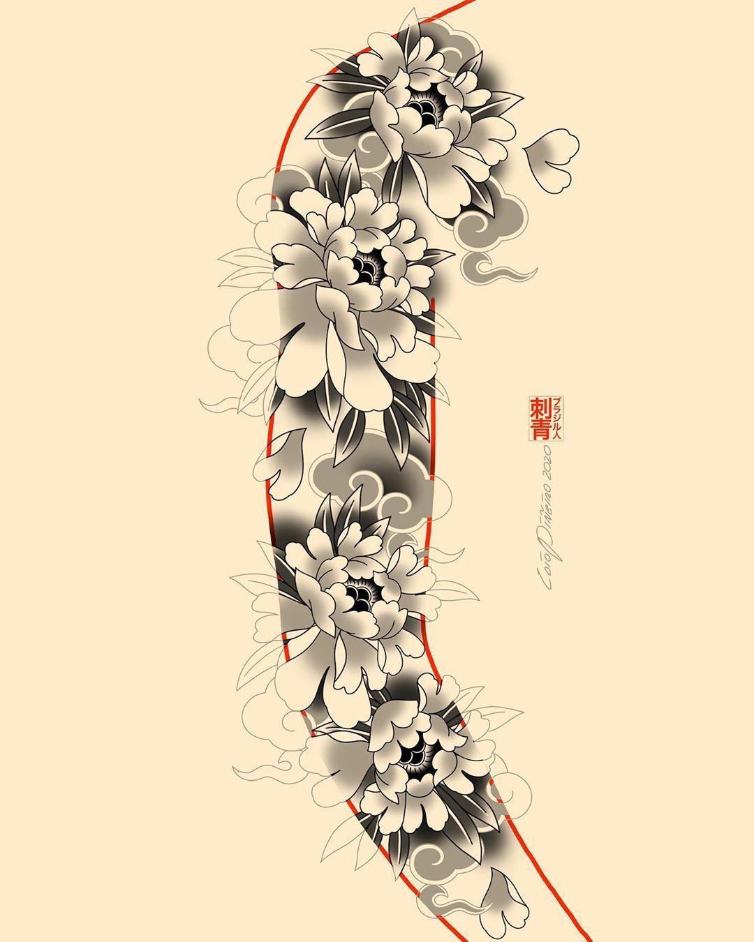 "Photo of 彫海 • HORIKAI • CAIO PIÑEIRO on Instagram: ""#peony #botan • You can find me @kokorotattoolondon🇬🇧 & @kokorotattoosp🇧🇷 • Bookings 📧caiopineiro@hotmail.com  #彫海 #刺青 #irezumi #horimono…"""
