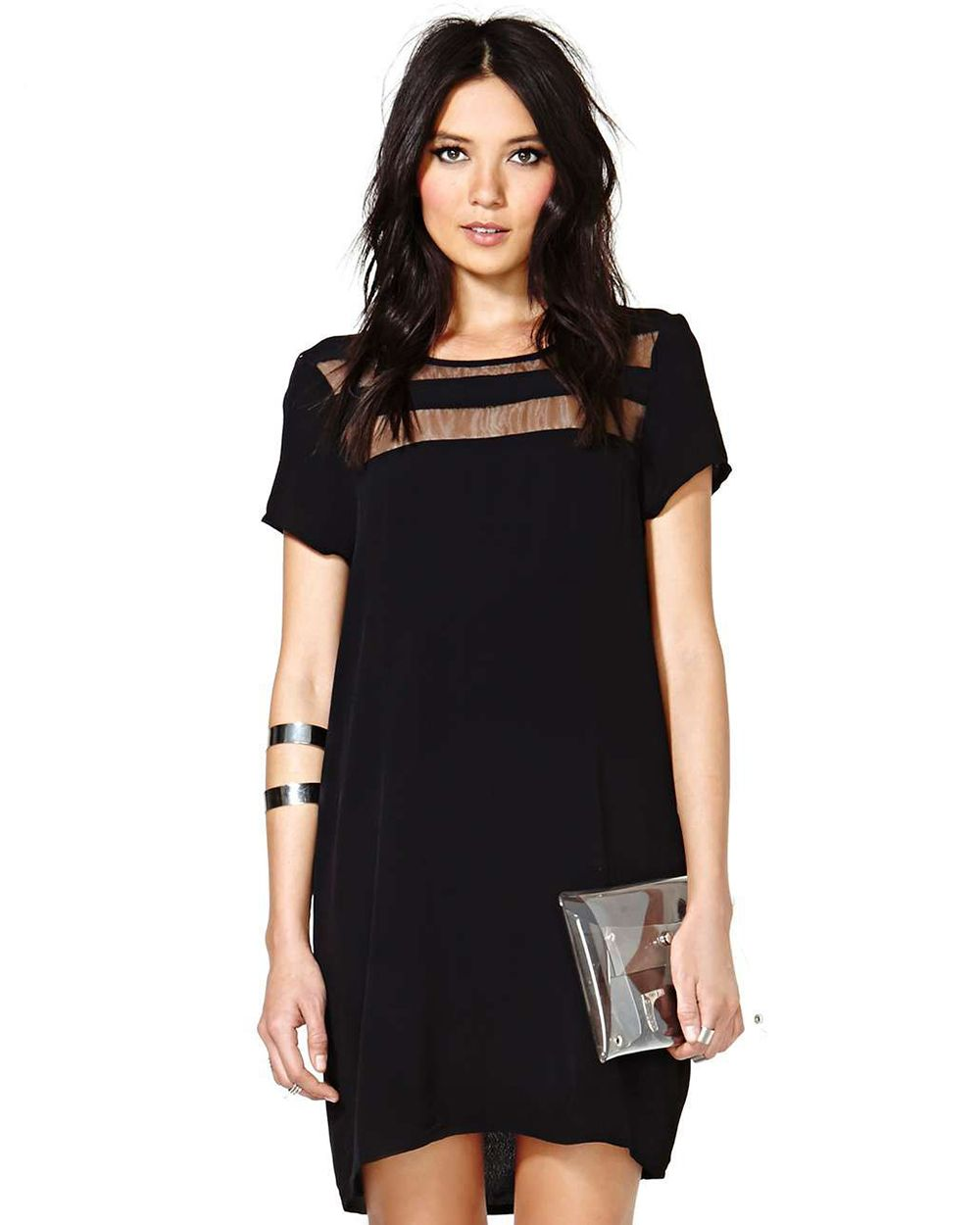 Shop Black Contrast Sheer Short Sleeve Loose Dress online. Sheinside ...