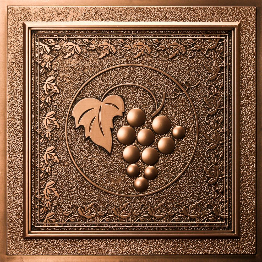 Magnificent grape vines ceiling tile design with seamless texture in grape vines ceiling tile antique bronze is a waterproof ceiling tile made from dense polyvinyl and built to last dailygadgetfo Gallery