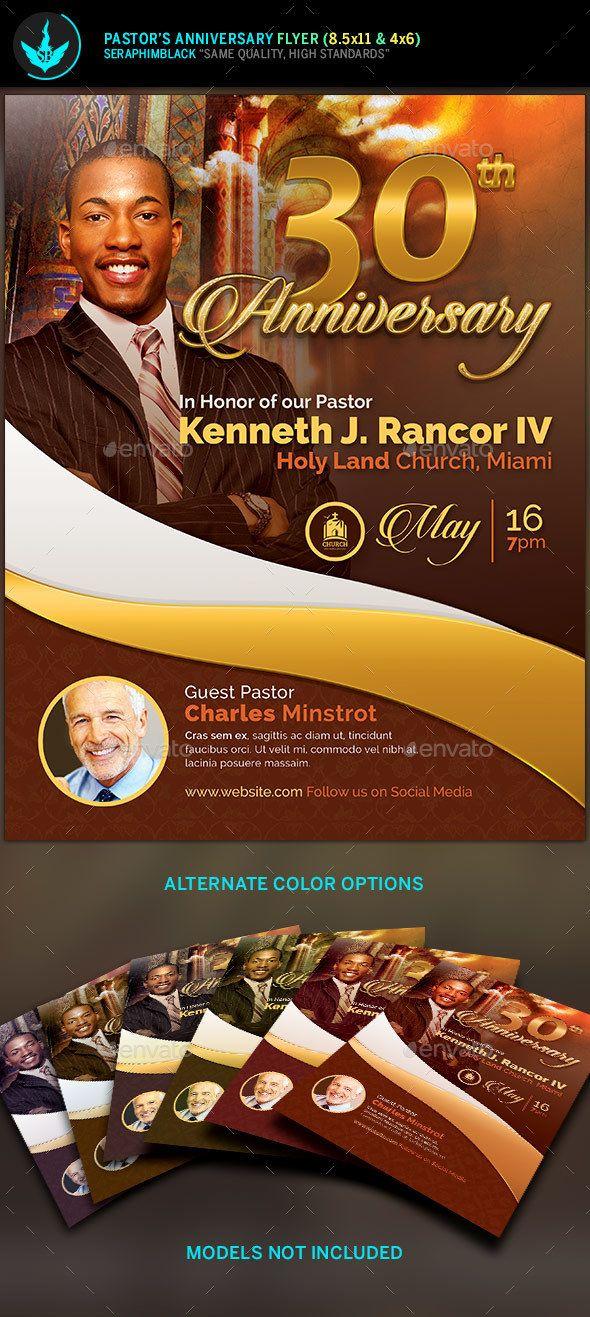 pastor u0026 39 s anniversary church flyer template
