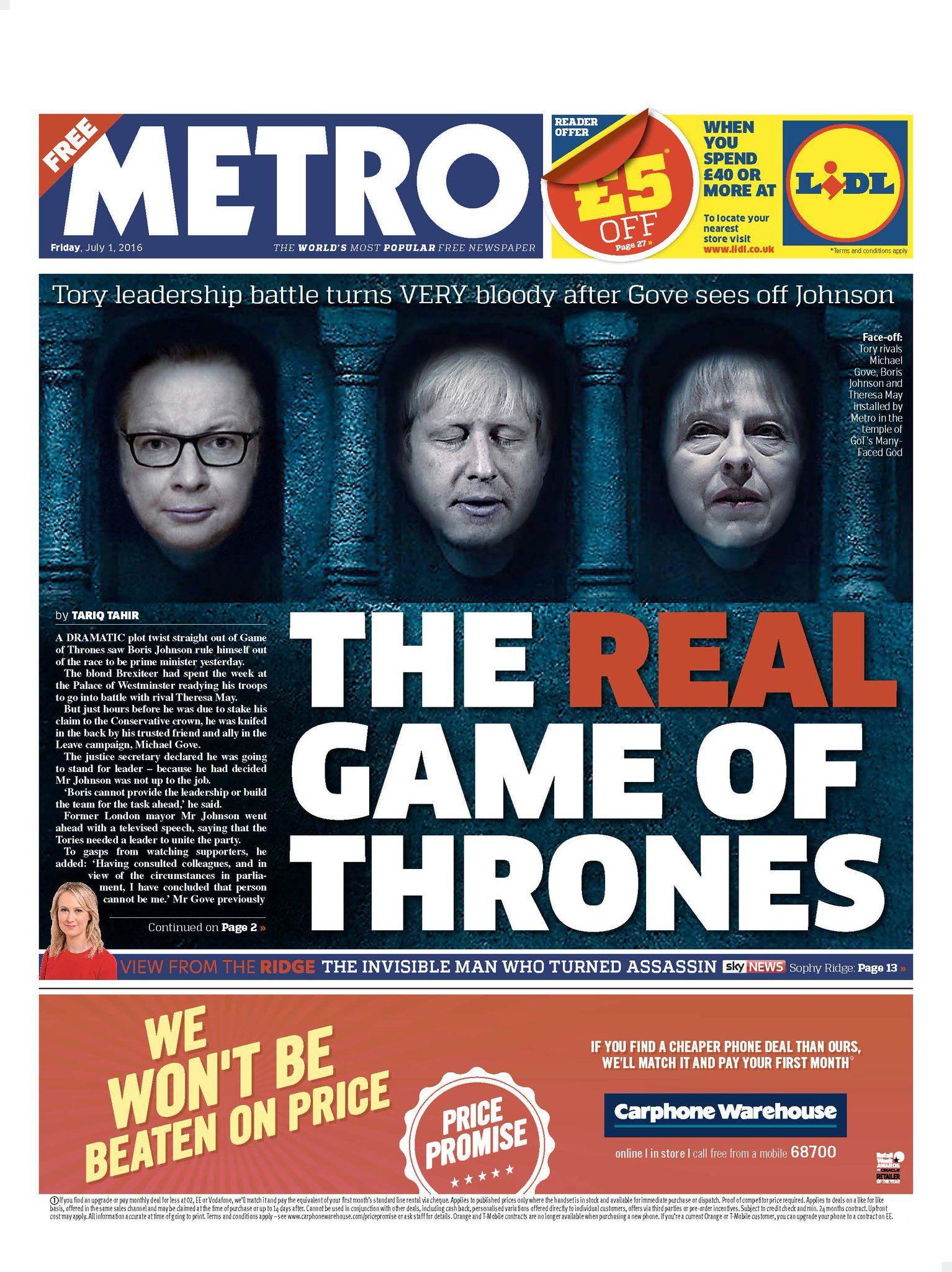 Metro Newspaper UK on Twitter | Newspaper headlines, Metro ...