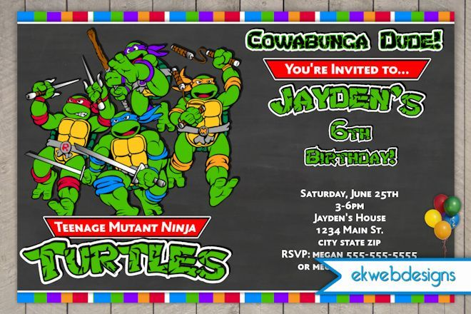 Download Now FREE Template Teenage Mutant Ninja Turtle Birthday Invitations