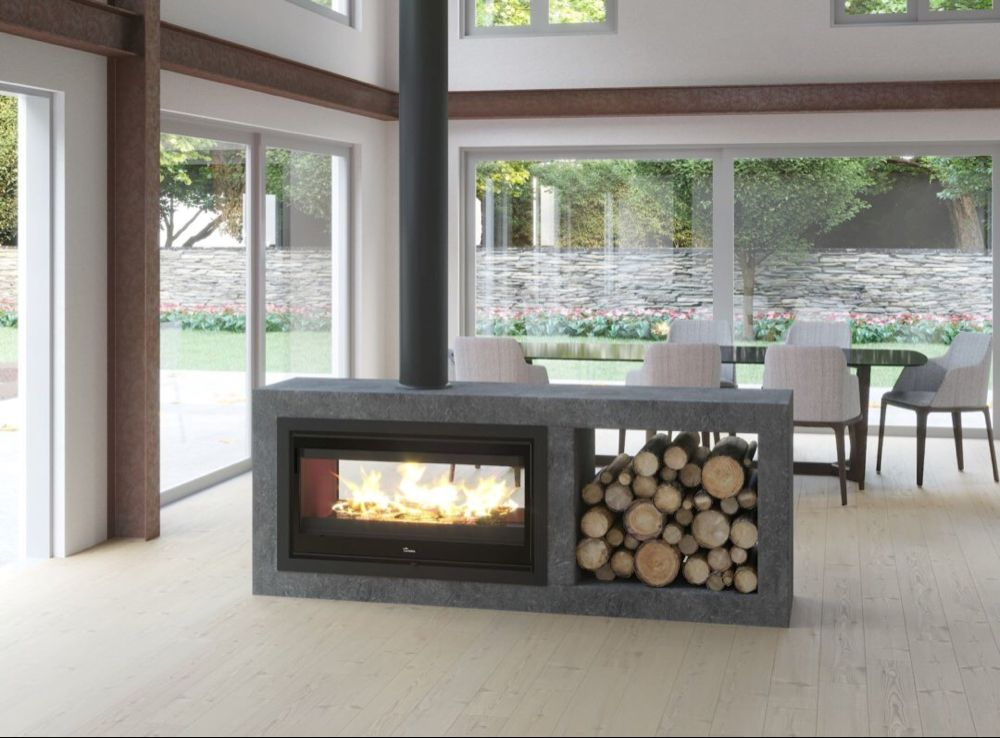 Lacunza Nickel 1000 Double Sided Closed Combustion Fireplace Close Up Wood Fireplace Freestanding Fireplace Home Fireplace