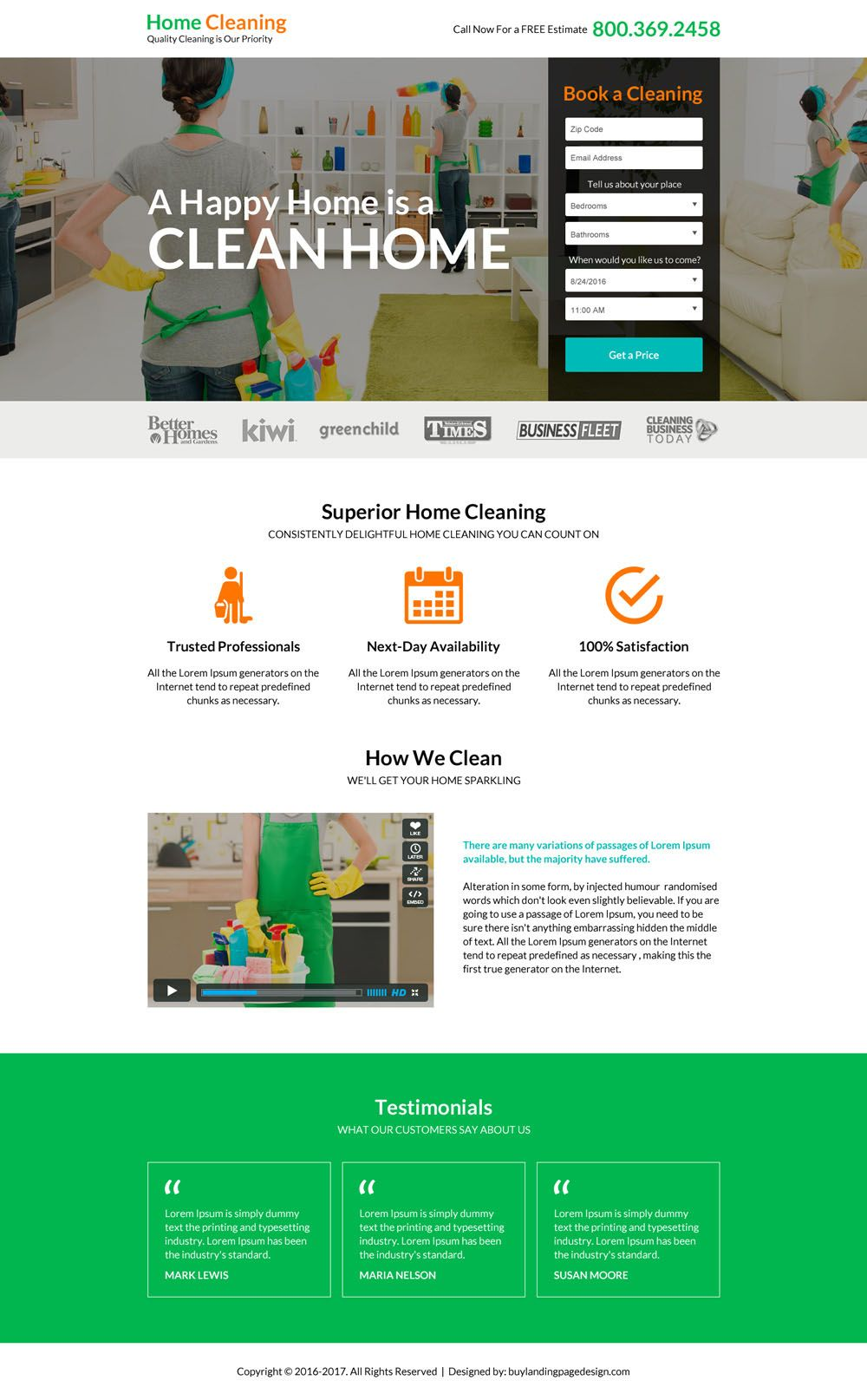 Superior Home Cleaning Service Lead Gen Landing Page Design