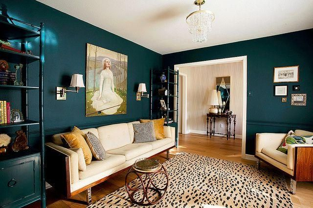 Benjamin Moore Dark Harbor Small Space With Dark Teal Walls It Actually Feels A Lot Bigger Than It Is I Teal Rooms Teal Living Rooms Yellow Living Room