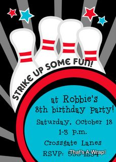 Bowling birthday party invitations ideas for kids pinterest items similar to bowling birthday invitation kids birthday bowling party invitation on etsy filmwisefo