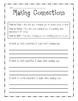 Making Connections Sheet Printable Worksheet Teaching Ideas