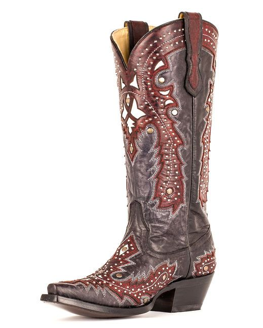 fd5c4a9288 Corral Women s Red Overlay w  Studs Cowgirl Boot http   www.countryoutfitter