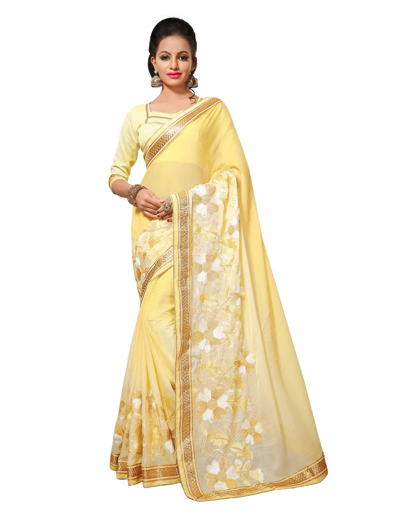 e2e349cc90760f Buy Designer Sarees Light Yellow Colour Chiffon Jari Embrodery Work With  Less Border Saree Buy Saree online UK - Buy Sarees online