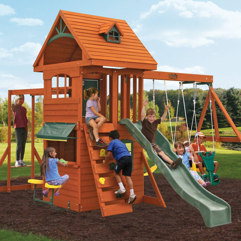 Ridgeview Deluxe Clubhouse Wooden Swing Set | Backyard ...