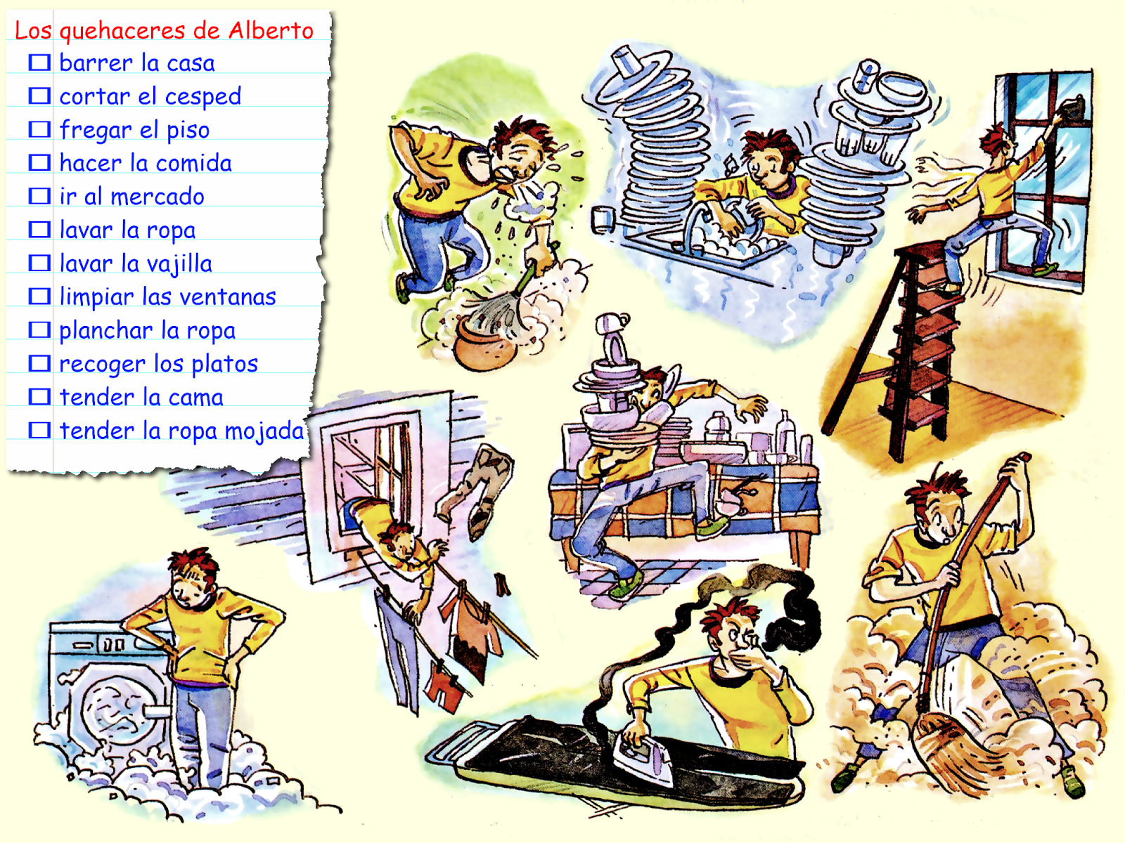 Los Quehaceres De Alberto Quehaceres Preterito Perfecto Tareas De Casa