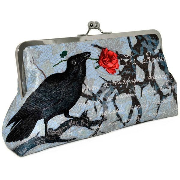 fd5f448f40 Printed Edgar Allan Poe LARGE clutch in dupion and silk (darker version).  Unique