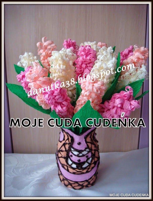 Moje Cuda Cudenka Jak Zrobic Kwiaty A La Hiacynty Z Krepiny Lub Bibuly Kurs Tutorial Paper Flowers Flower Making Paper Art