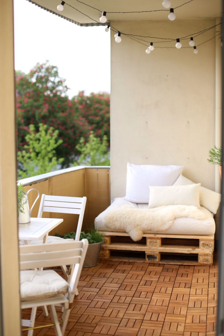 New Balcony | DIY | Ikea | Europaletten | for warm and cosy days | Runnen | lights | by vanessaesau