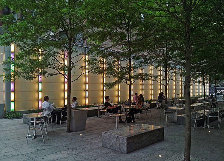 contemporary garden design ideas photos - The 10 000 sq ft urban plaza features a reflecting pool