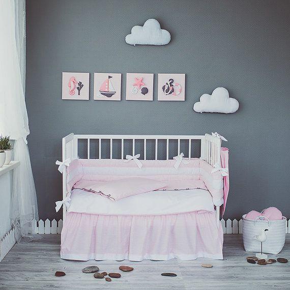 Pink White crib bedding set Sea Dreams Nautical baby by CotandCot