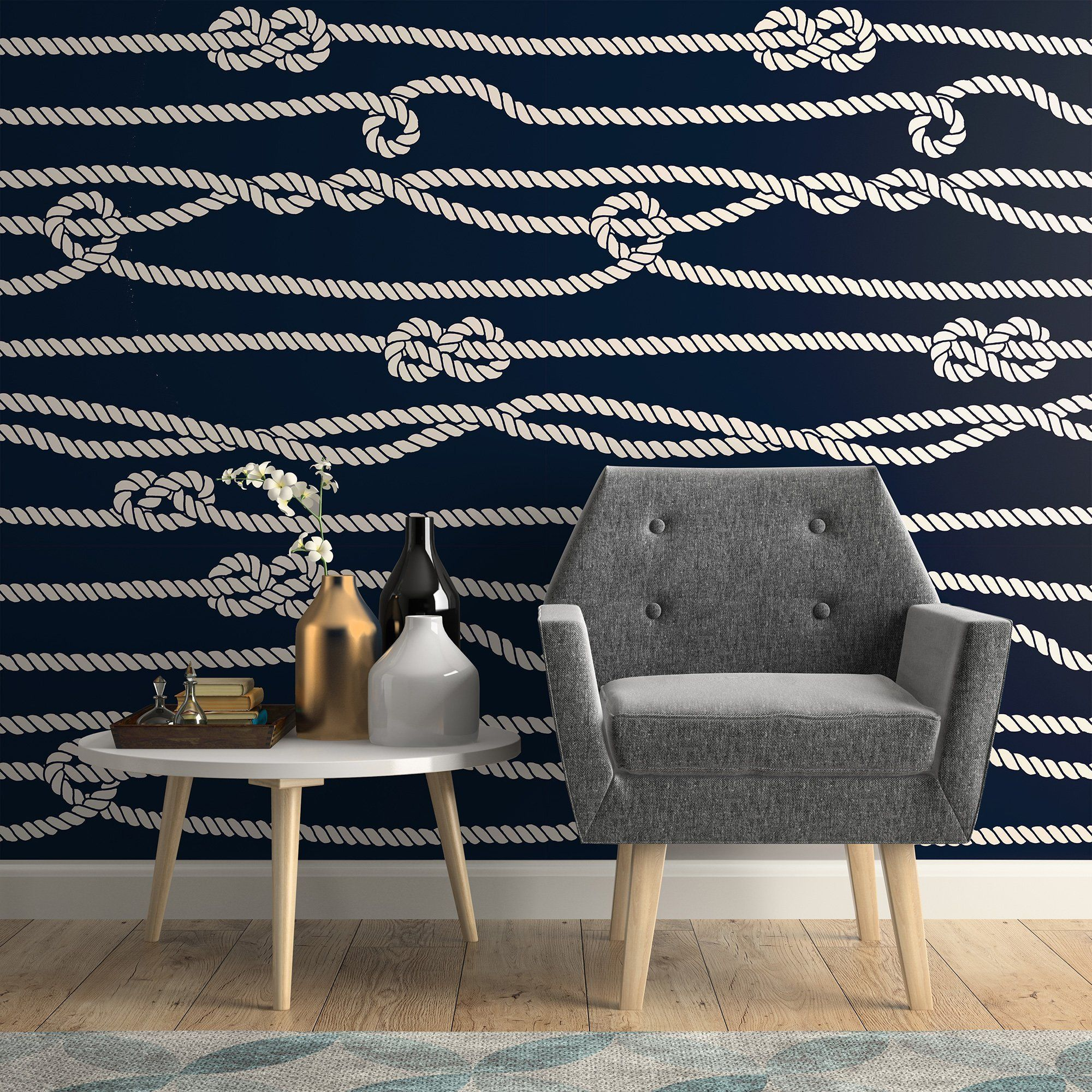 Blue and White Line Nautical Fabric Removable Wallpaper