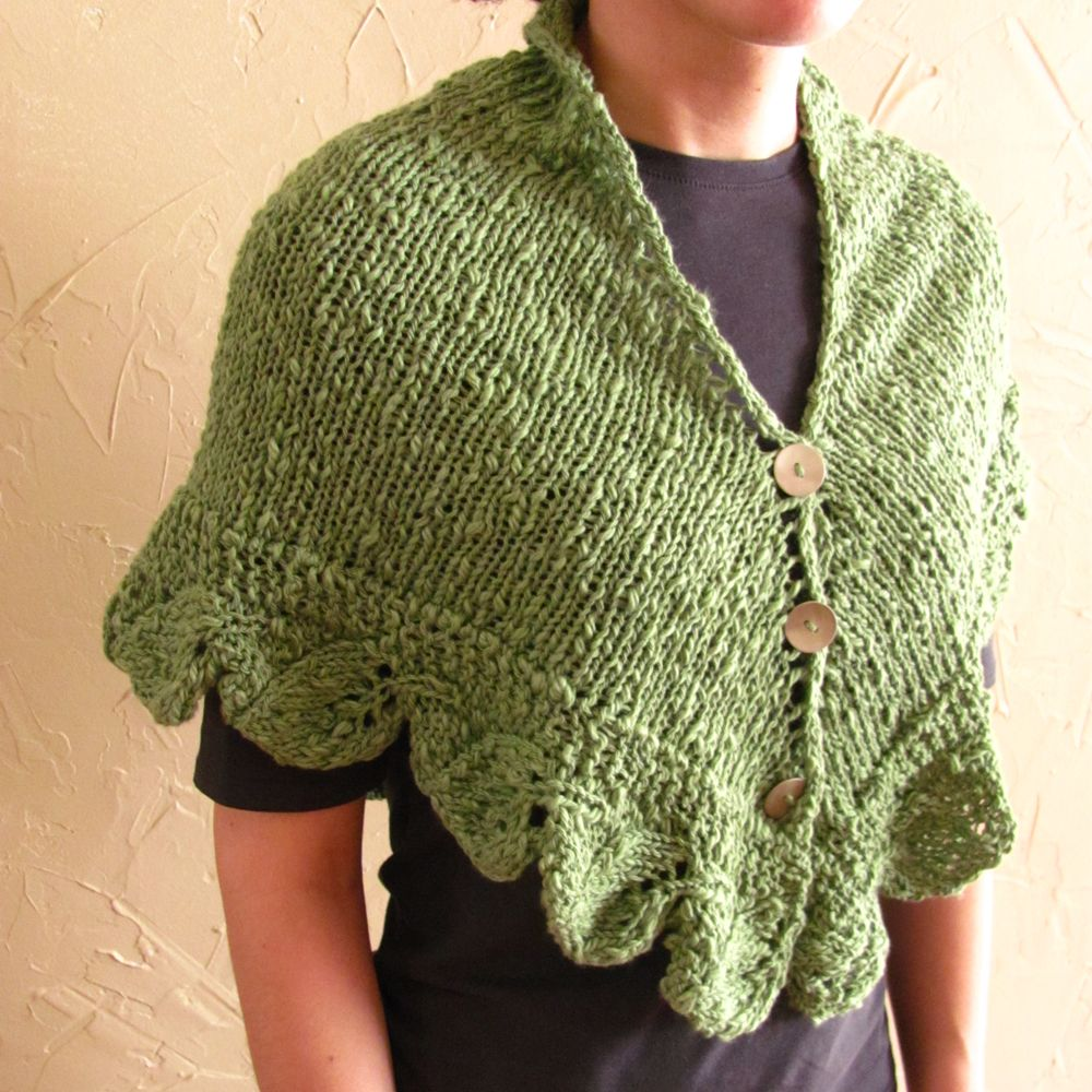 knit wrap patterns free | This triangle was knit of a nubby green ...