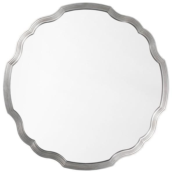Scalloped Silver Leaf Round Chippendale Mirror