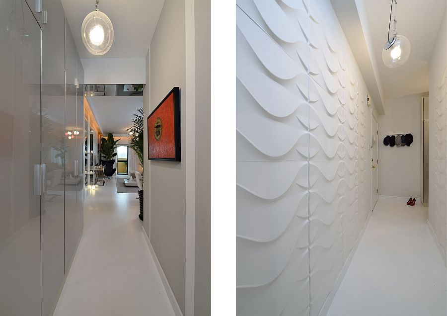 Textured 3D Boards With A Wave Pattern At The Entrance Add Contrast To Sleek Home