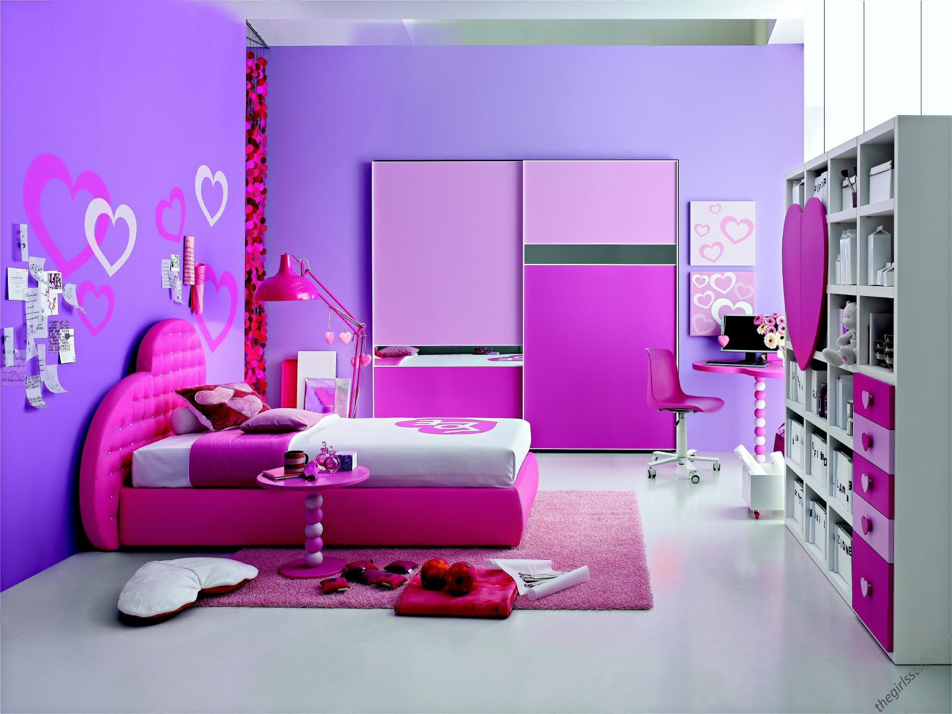 Bedroom Design for Girls with Cool Purple Wall using Windows and ...