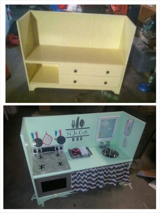 Before and after dresser redo into sjs play kitchen. Less than $25 !