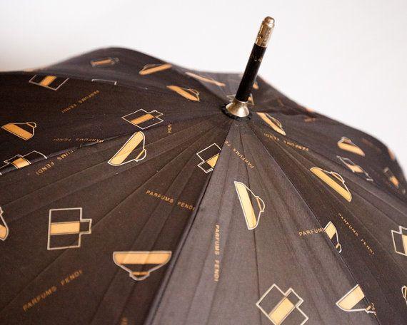 Rare Vintage Black And Gold Fendi Parfum Print By Lastprizevintage Fendi Vintage Umbrella Vintage Black Hair Accessories Vintage