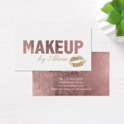 Rose gold typography gold lips makeup artist business card rose gold typography gold lips makeup artist business card artists unique special customize presents reheart Choice Image