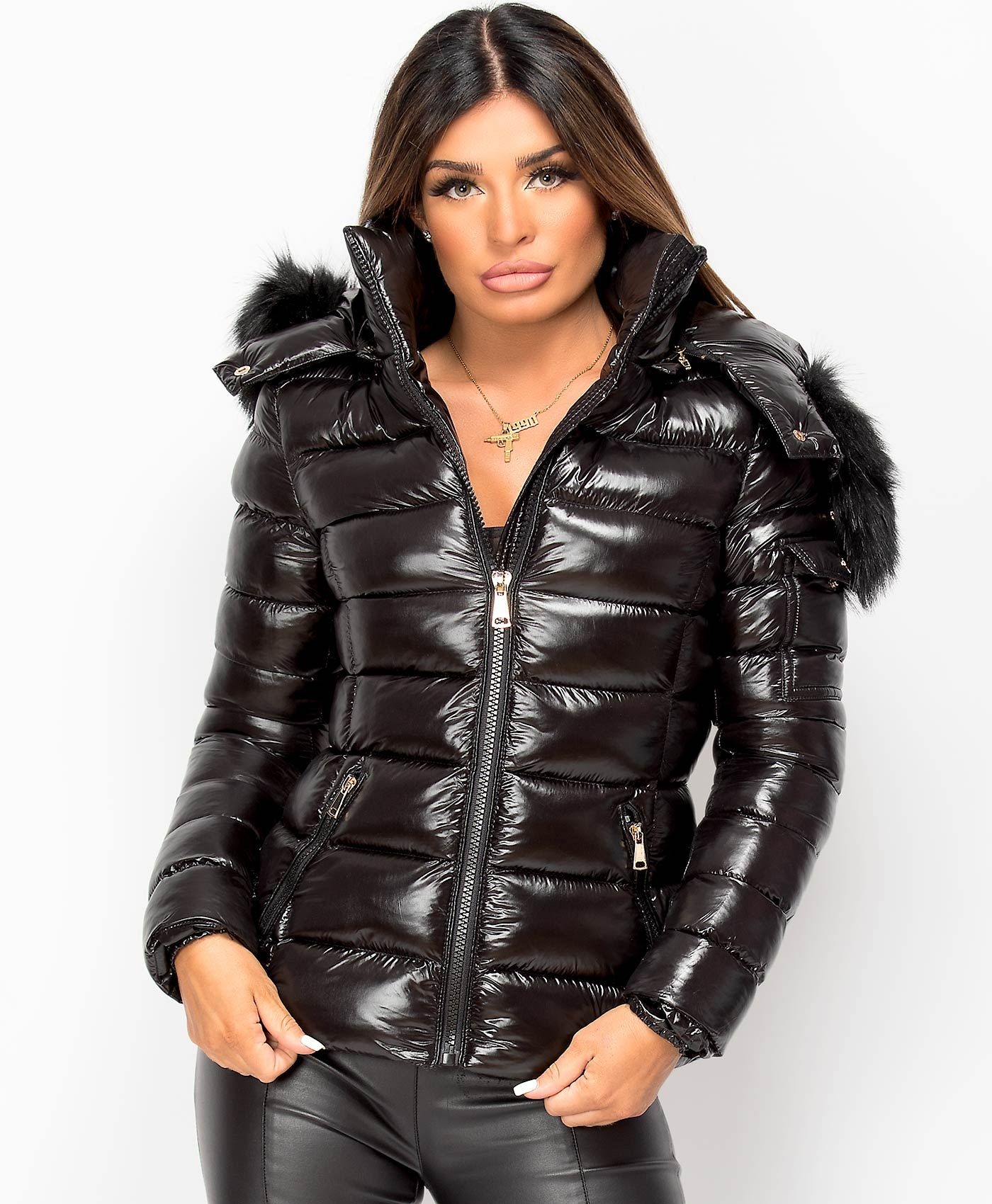 Women S Puffer Quilted Wet Look Shiny Jacket Padded Faux Fur Hooded Winter Coat Ebay Women S Puffer Shiny Jacket Hooded Winter Coat [ 1700 x 1400 Pixel ]