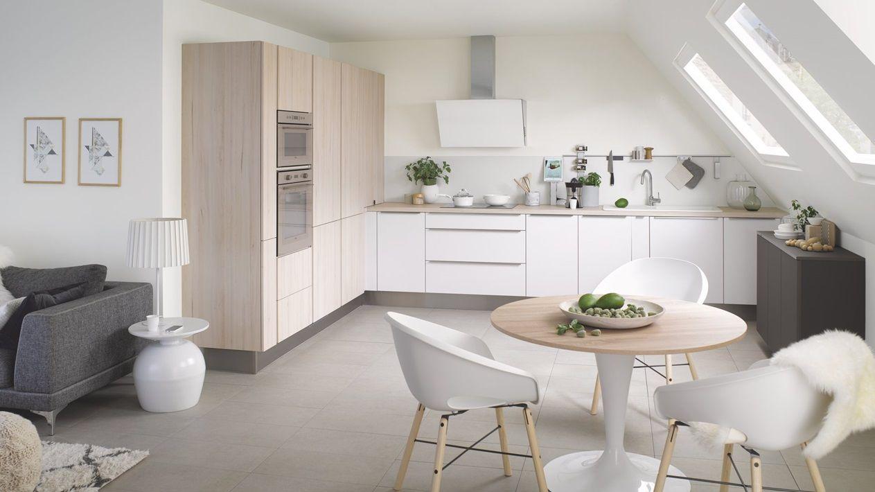 Cuisine équipée Scandinave En L Touch Blanche Bois Cuisinella
