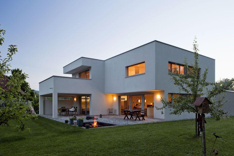 Massivbau, KunststoffAlufenster, TrapezForm, Flachdach