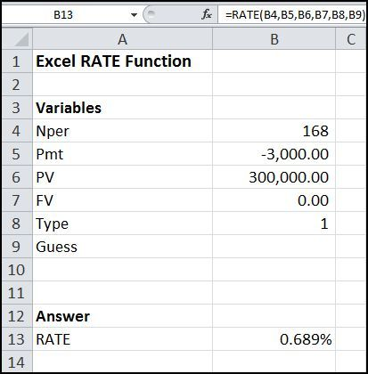The Excel RATE function is used to calculate the discount rate in - net pay calculator