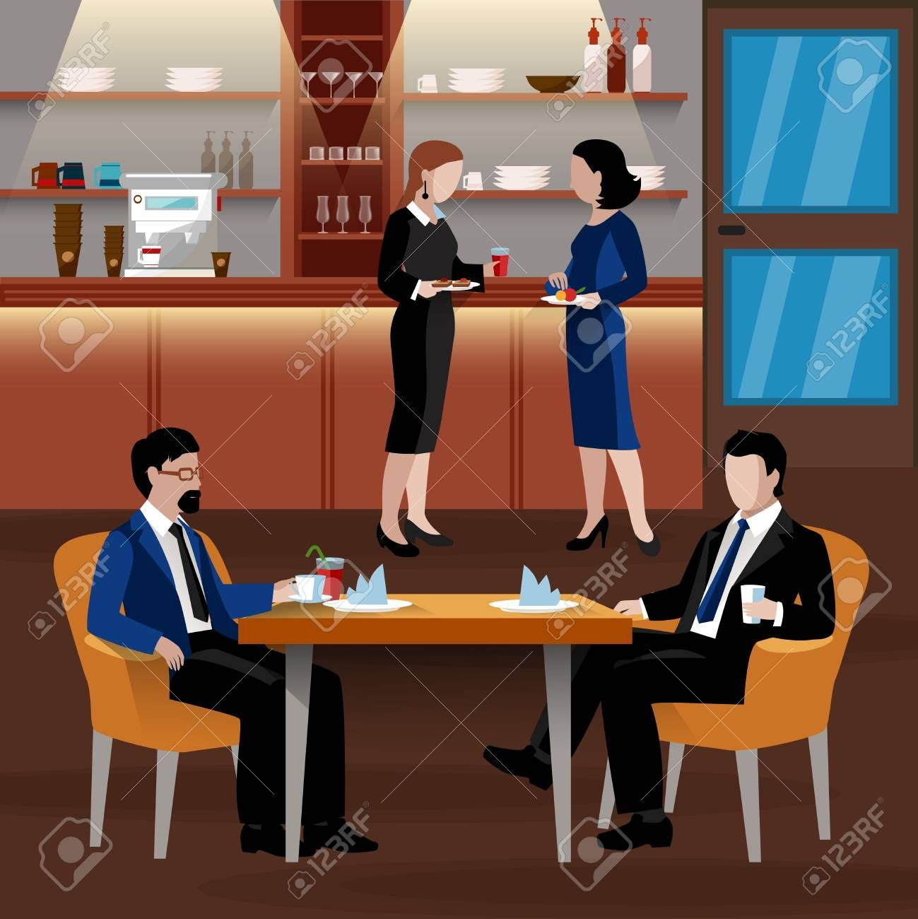 Colored business lunch people composition with flat people in suits and an office room drink coffee and have a lunch vector illustration Illustration