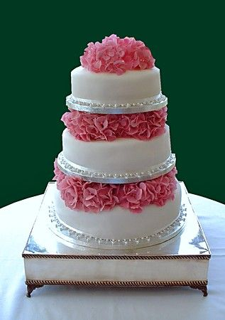 3tier Round Cake with Pink Hydrangeas For When I say I do
