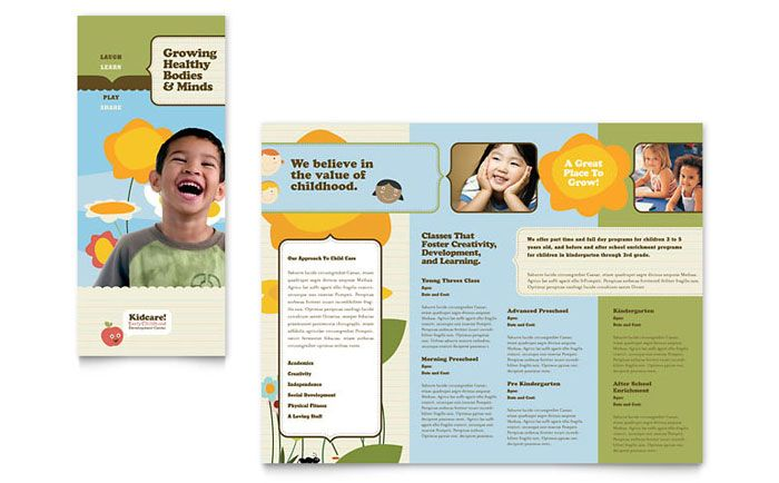 Child Development School Tri Fold Brochure. Download Template