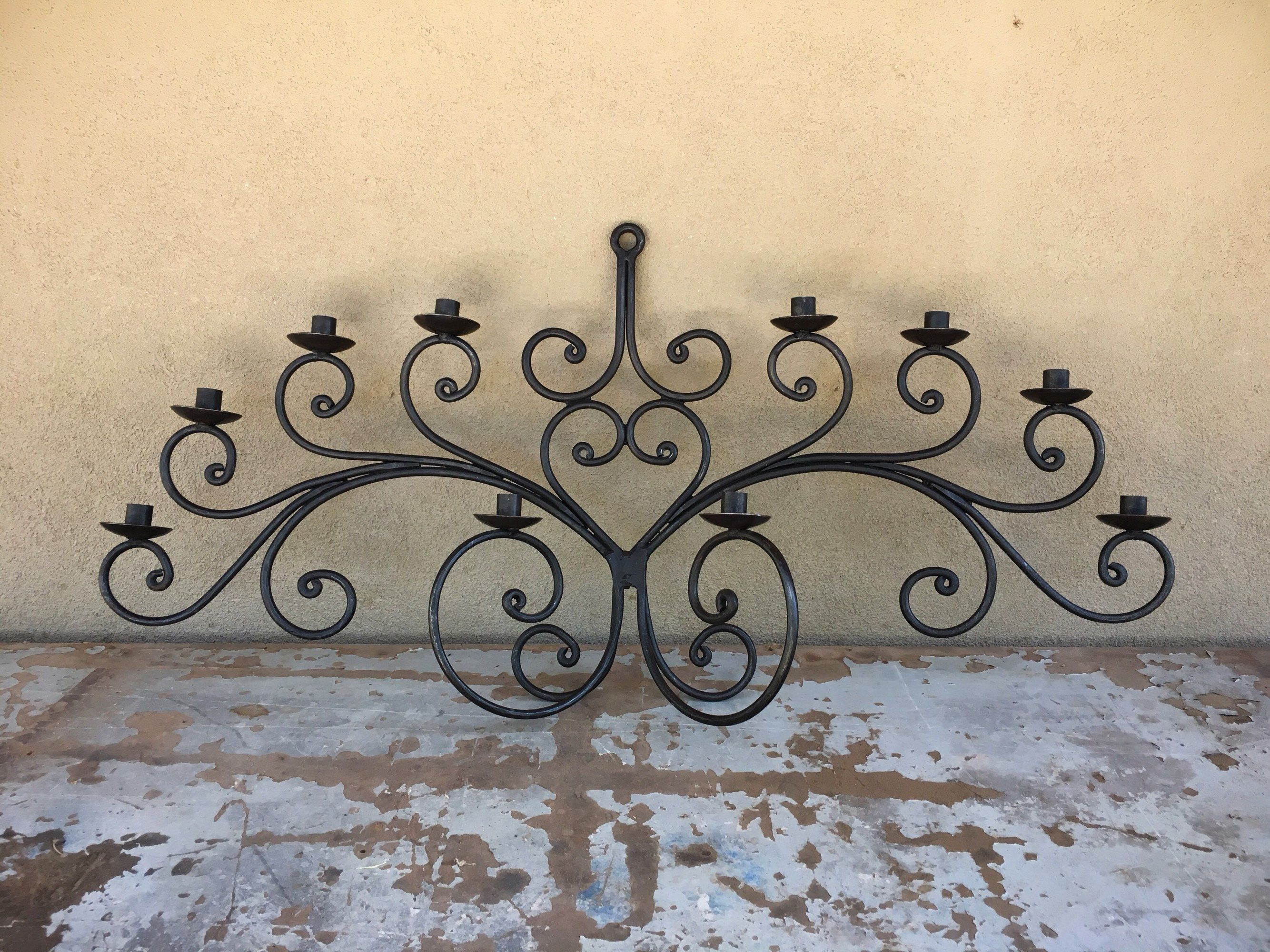 Huge Vintage Mexican Wrought Iron Wall Candelabra Ten Candle