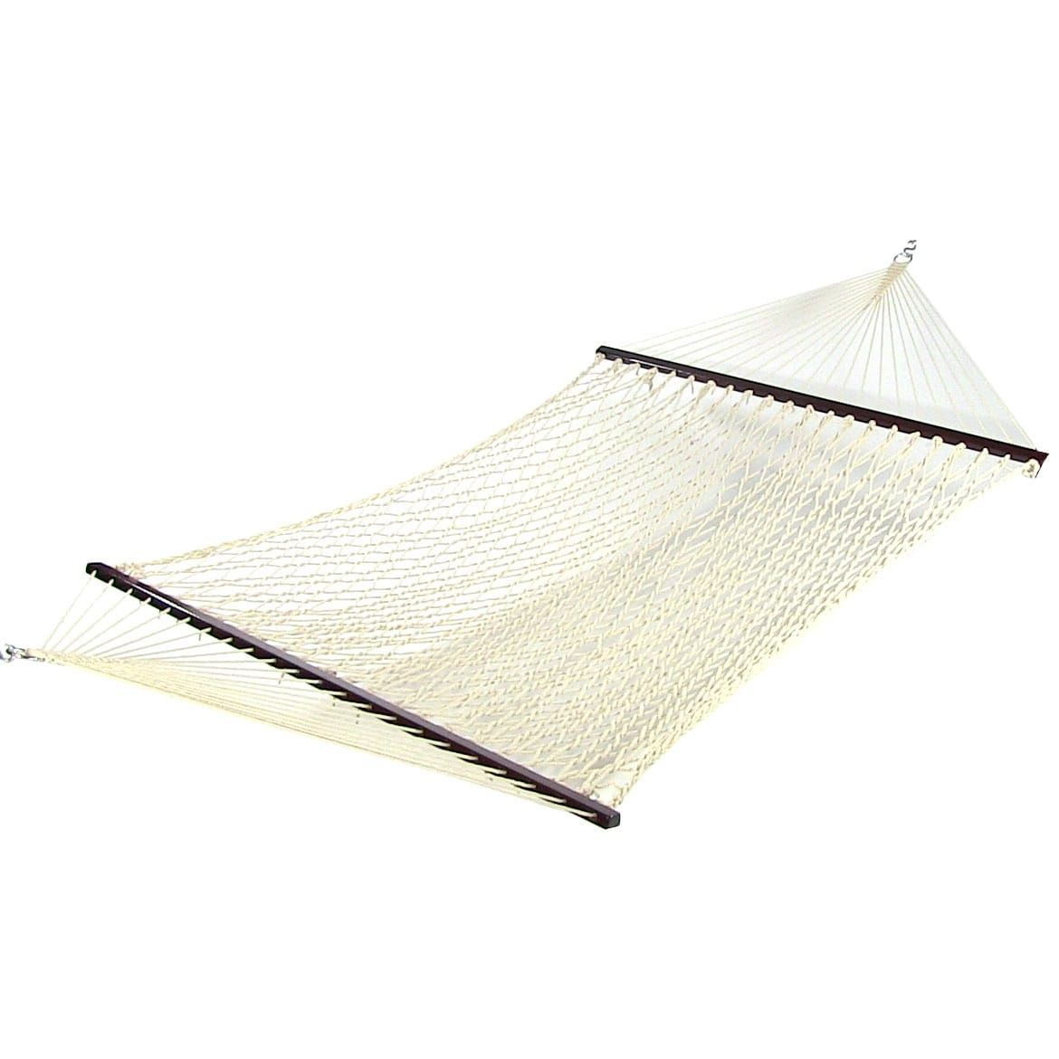 Sunnydaze Cotton Double Wide Rope Hammock With Spreader Bar Stand Combo