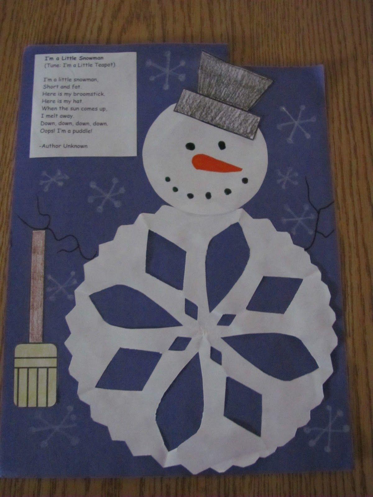 *Lil Country Kindergarten*: Winter Ideas - Part 1 Snowman and Poem