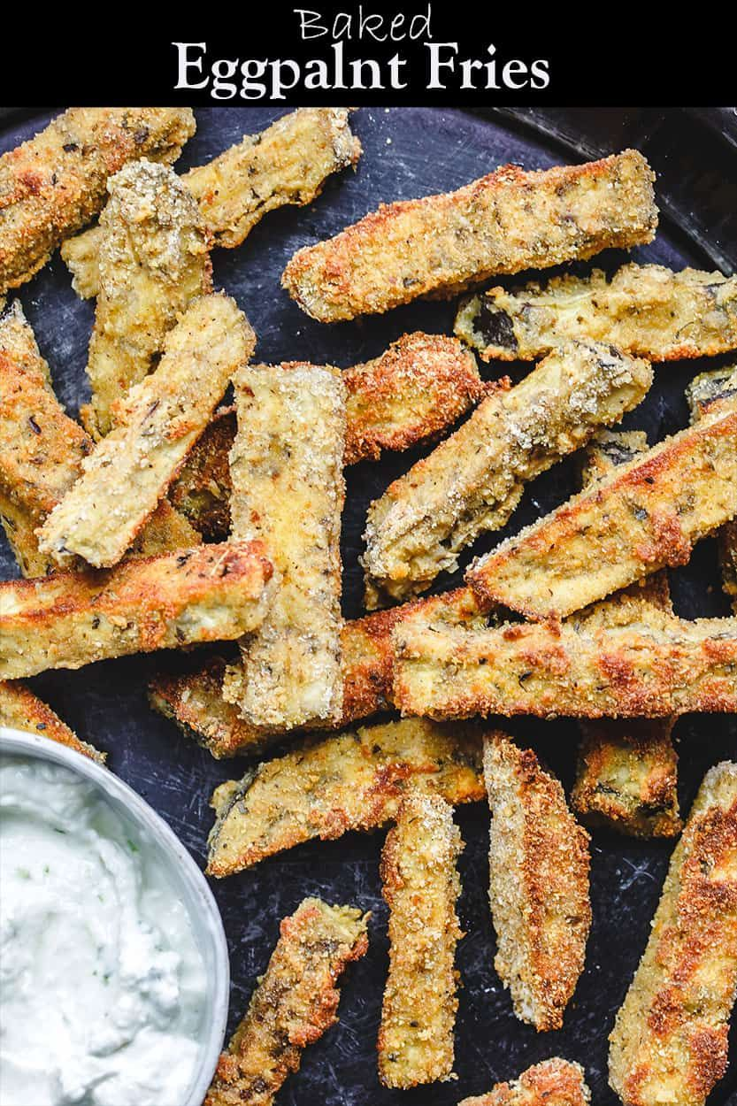 These baked eggplant fries are the perfect appetizer for a crowd Velvety tender on the inside and crispy on the outside Serve them with a side of Greek tzatziki sauce Rec...