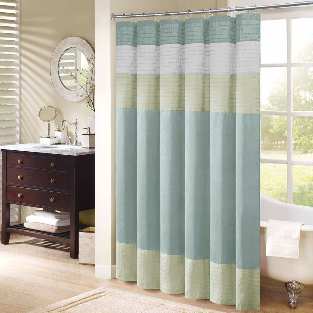 Brown And Cream Striped Shower Curtain Shower Curtain - Brown and turquoise shower curtain