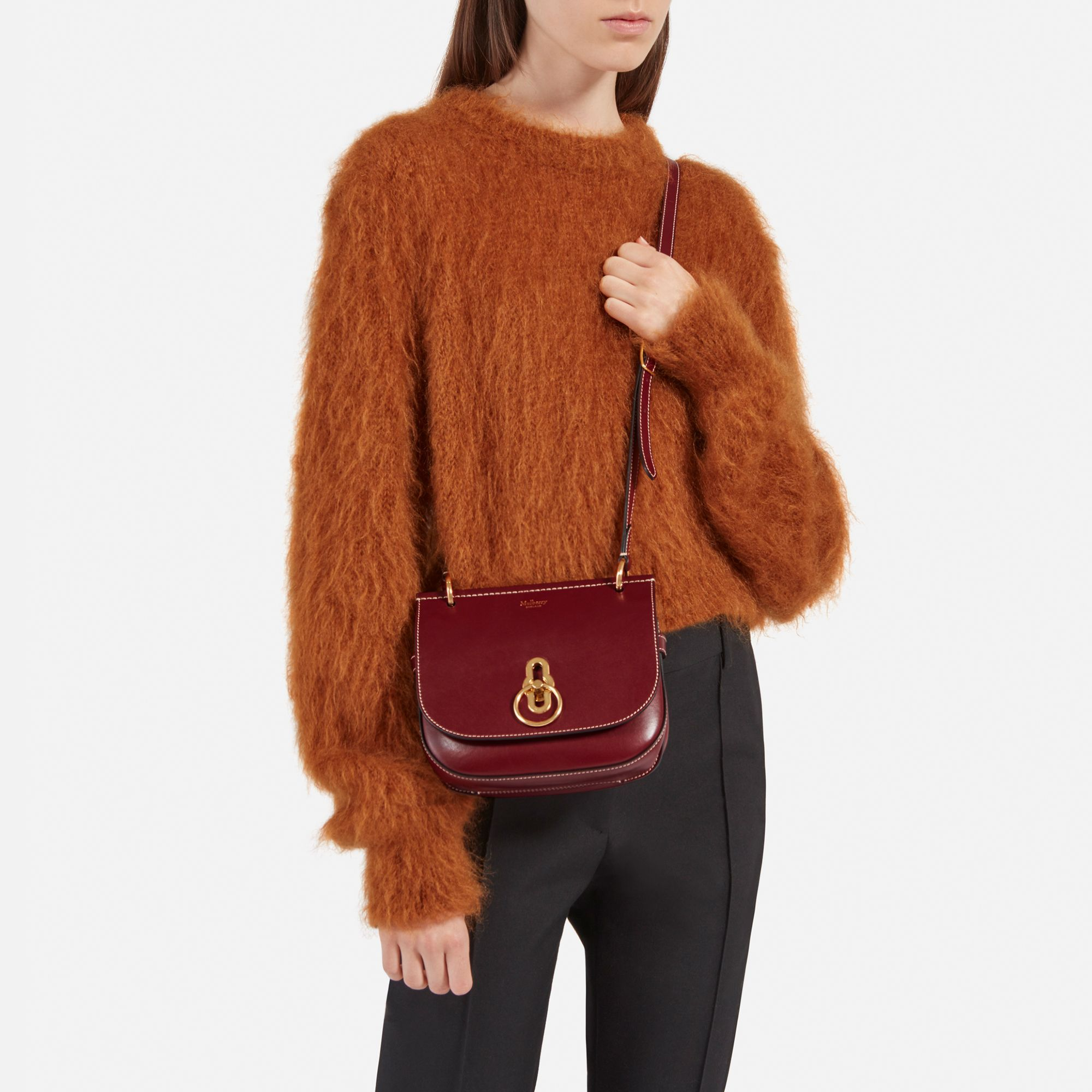 ccd45be18e Shop the Small Amberley Satchel in Crimson Silky Calf Leather at Mulberry.com.  Inspired