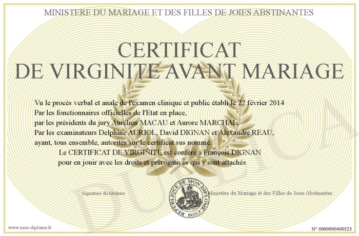 400323 certificat de virginite avant mariage evjf pinterest. Black Bedroom Furniture Sets. Home Design Ideas