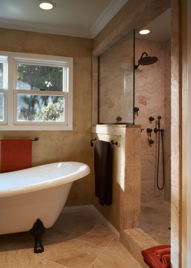 Nice pony wall separating clawfoot tub and shower for Pictures of bathrooms with clawfoot tubs