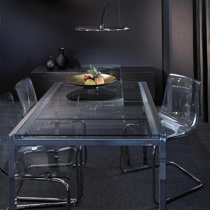 Glivarp extendable table in chrome tempered glass seats 4 - Tavolo torsby ikea ...