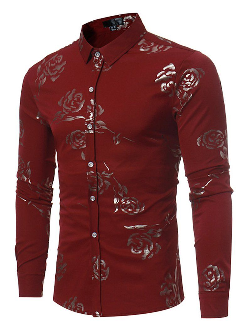 14baa6de2275 England Style Rose Printed Slim Fit Men's Button Shirt in 2019 | My ...