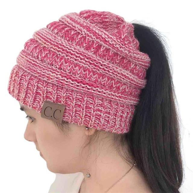 788c7486 CC Beanies with Ponytail Hole | Products | Knitted hats, Warm winter ...