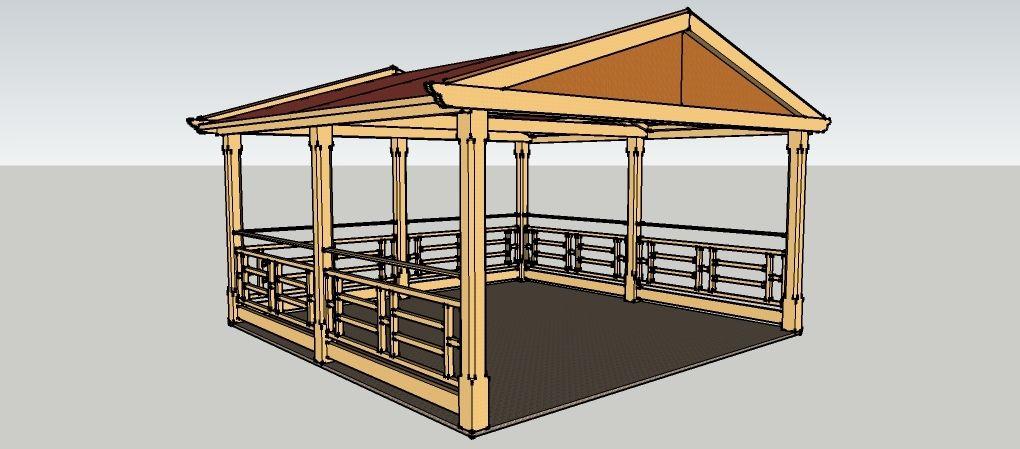 Gartenpavillon 4 x 4 meter mit satteldach aus holz zum selber bauen bauanleitungen baupl ne - Gartenpavillon selber bauen ...